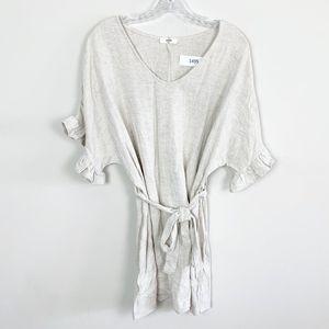 Entro   linen tie waist ruffle sleeve mini dress M